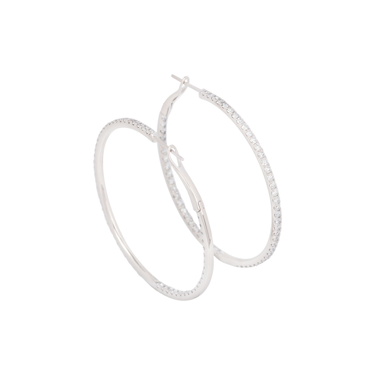 White Gold Diamond Hoop Earrings 2.55ct G/H VS